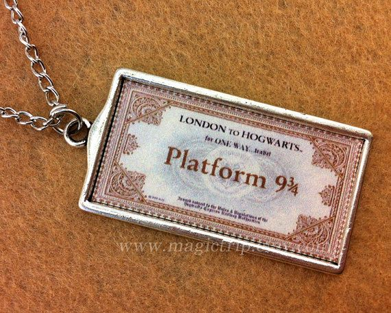 Harry Potter Hogwarts Train Ticket necklace / Wedding favour