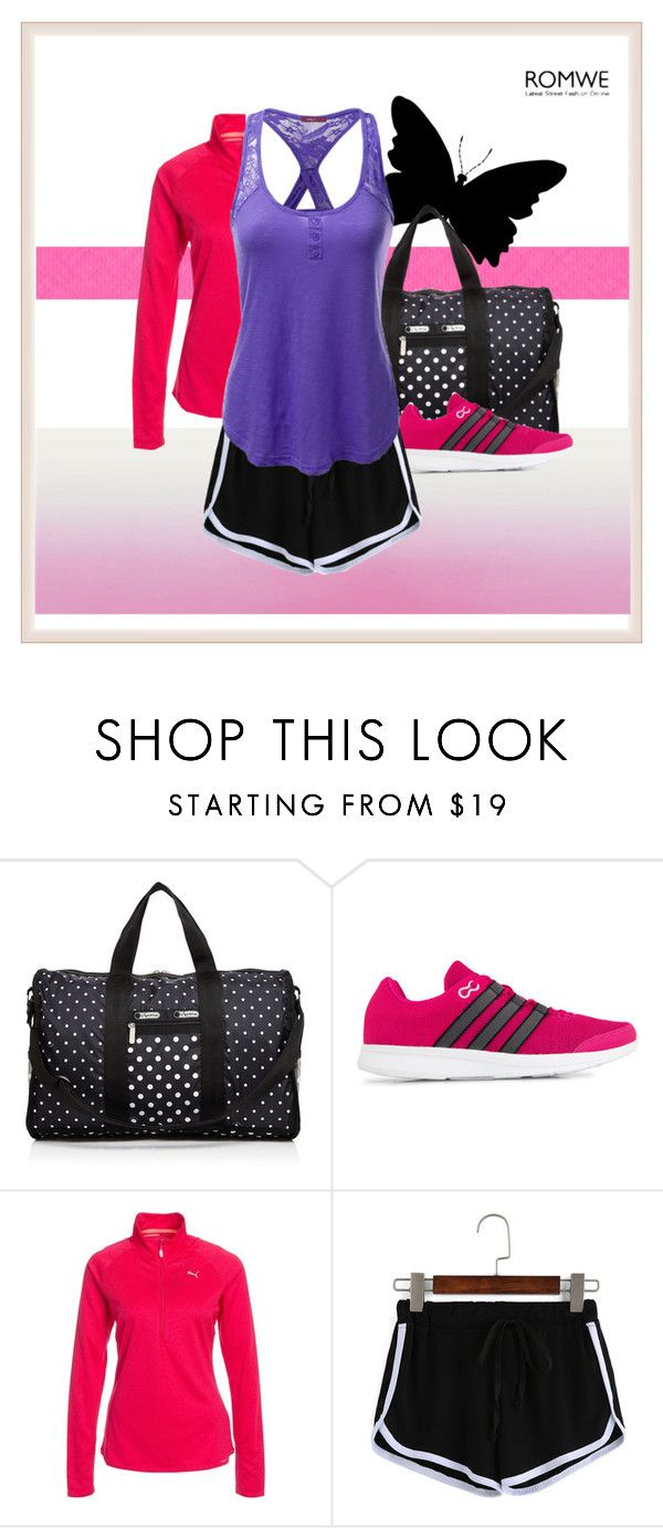 """Sportystyle"" by my-style-xo ❤ liked on Polyvore featuring LeSportsac, adidas, Puma, Doublju, contest, romwe, contestentry and sportystyle"