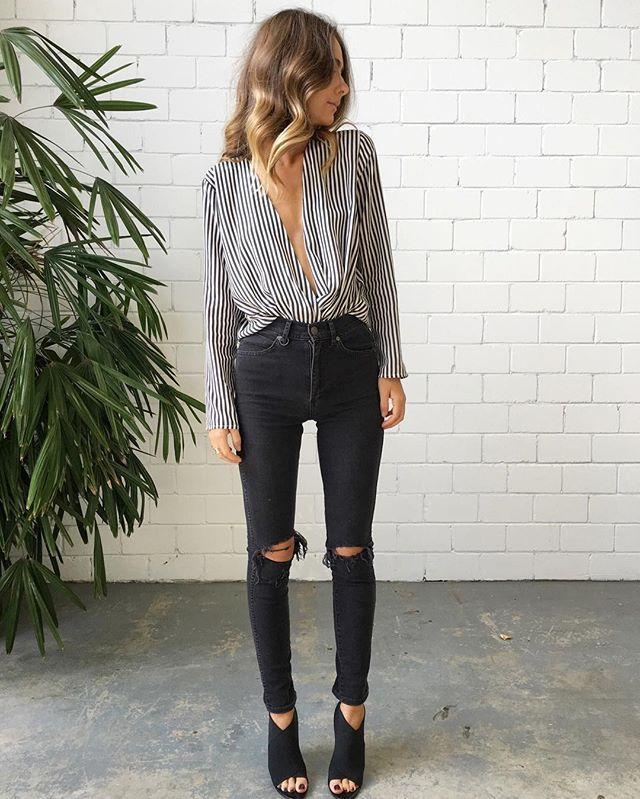 Black and White Spliced Jumpsuit | Moda, Ropa, Moda para mujer