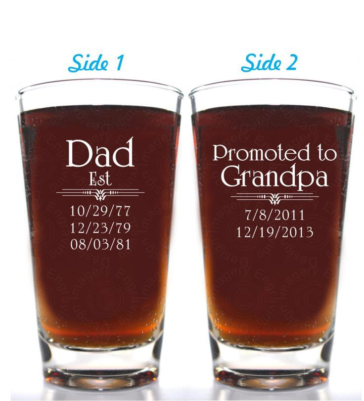 Dad Promoted to Grandpa Beer Glass Highly Customizable on Both Sides Offered in 21 Fonts #grandpagifts