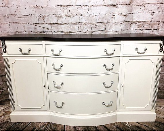 Stupendous Antique White Buffet Sideboard Credenza Server Dresser Home Interior And Landscaping Palasignezvosmurscom