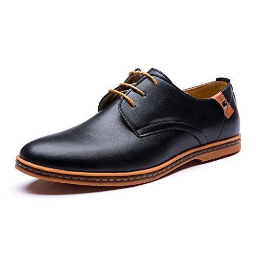 Zapatos para hombre, estilo clásico y formal, con cordones, de ante sintético, color Negro, talla 41.5