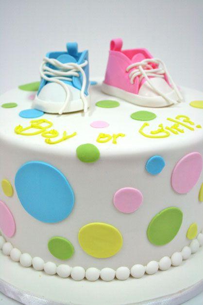 Gender-Reveal-Baby-Shower-Cake-NJ---Baby-Shoes-Custom-Cakes