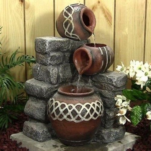 3 Pots Pouring Outdoor Water Fountain With LED Lights. Free Shipping