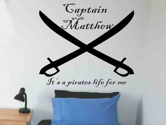 Personalized Name Pirate Ship Skull Cross Swords Vinyl Sticker Wall Decal Deco
