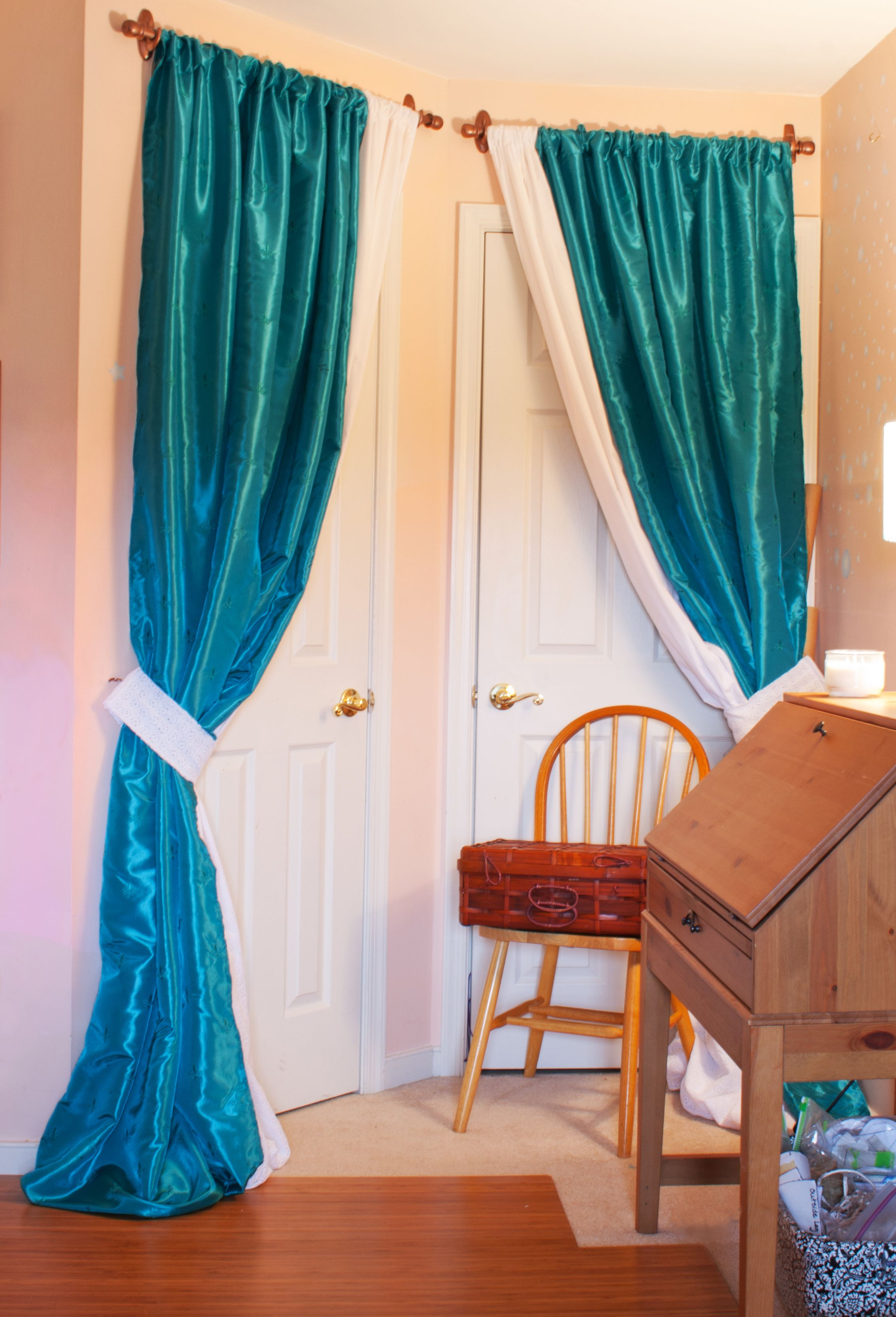curtains collection of homemade vanity room in curtain dining for stunning with blue ideas japan fabric white photo