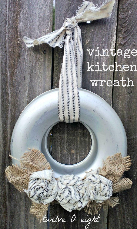 twelveOeight: Vintage Kitchen Wreath. Cute!