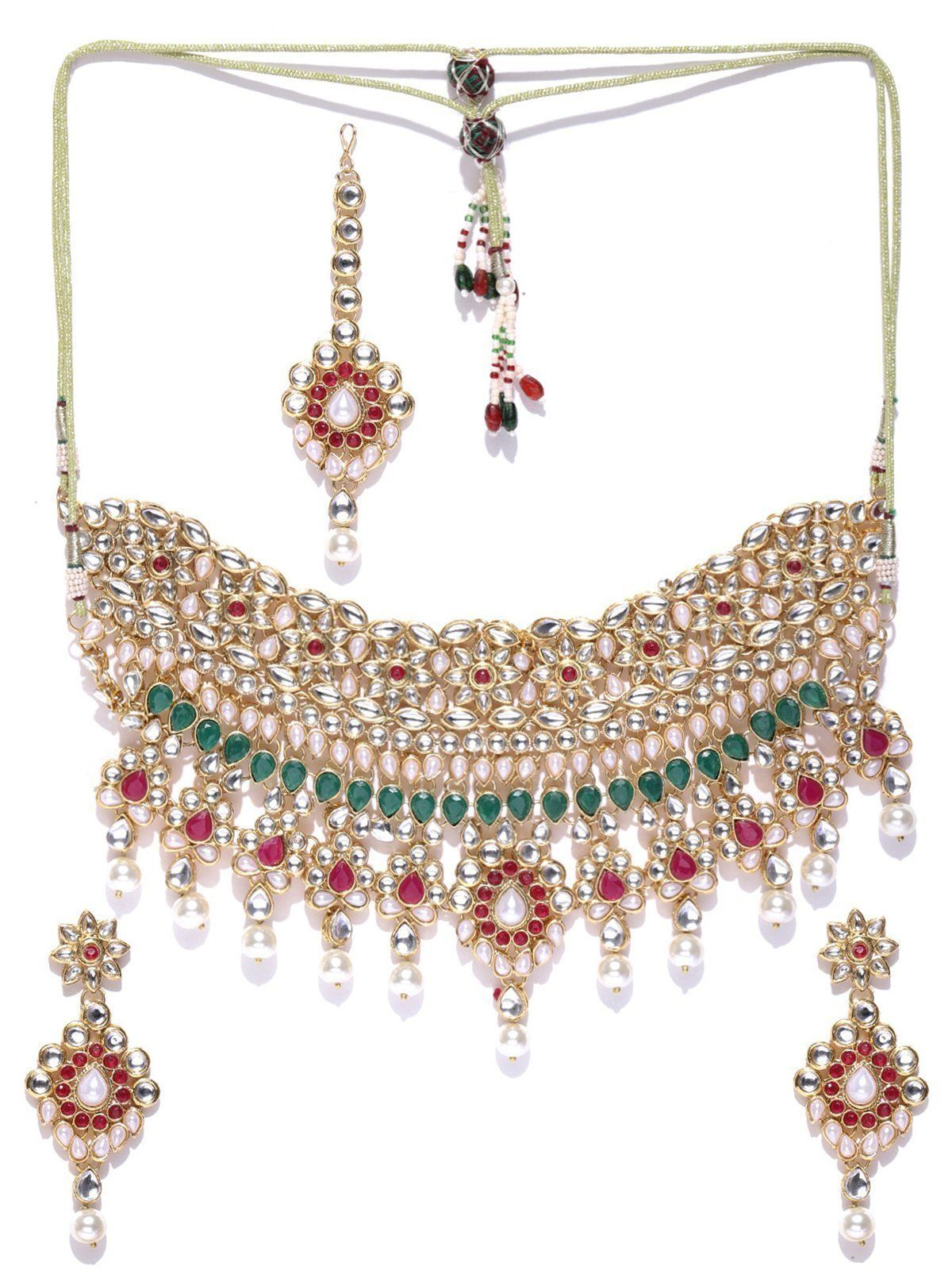 Zaveri Pearls Traditional Kundan And Pearls Bridal Necklace Set