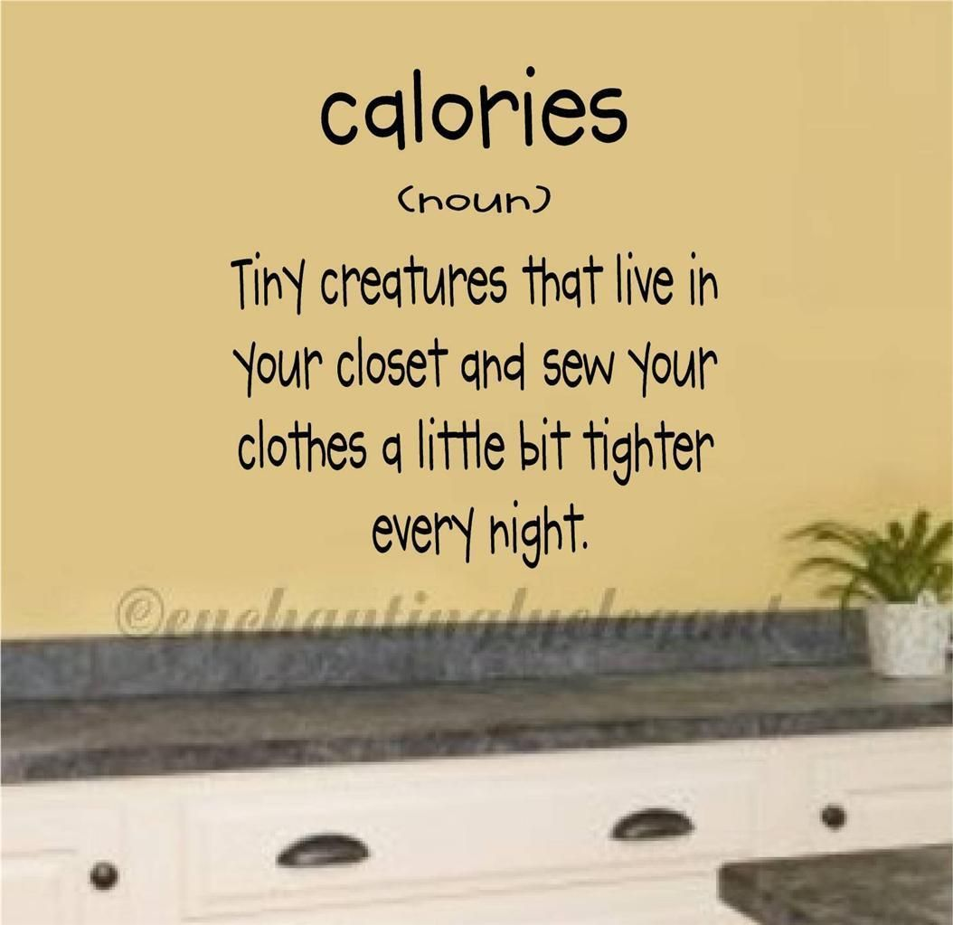 Calories Definition Vinyl Decal Wall Sticker Words Lettering Kitchen ...
