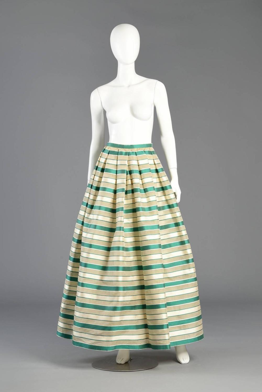 Stunning 1960s Saks 5th Ave Silk Organza Striped Maxi Skirt 2