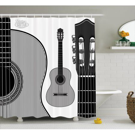 Guitar Shower Curtain, Monochrome Design Striped Acoustic Classical ...