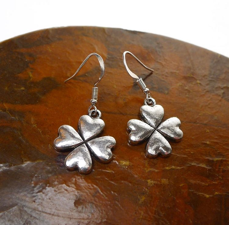 Silver Shamrock Earrings, Clover Jewelry - Everyday Shamrock Jewelry