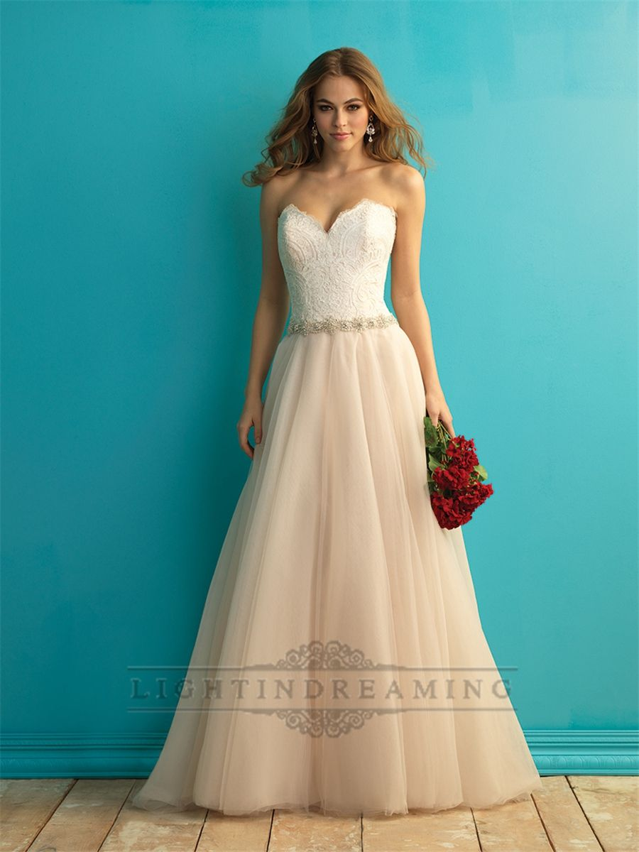 Strapless+Sweetheart+A-line+Weding+Dress+with+Beaded+Belt | Find ...