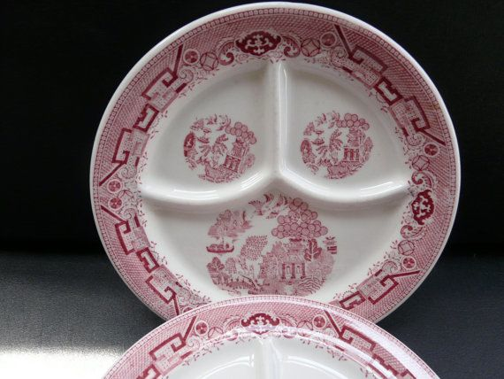 Jackson China Red Willow Divided plates set by SaltwaterTriageVin $24.00 & Jackson China Red Willow Vintage restaurant ware Divided plates ...