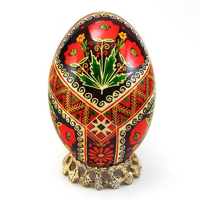 Traditional Poppies - Real Handmade Traditional Ukrainian Goose Egg