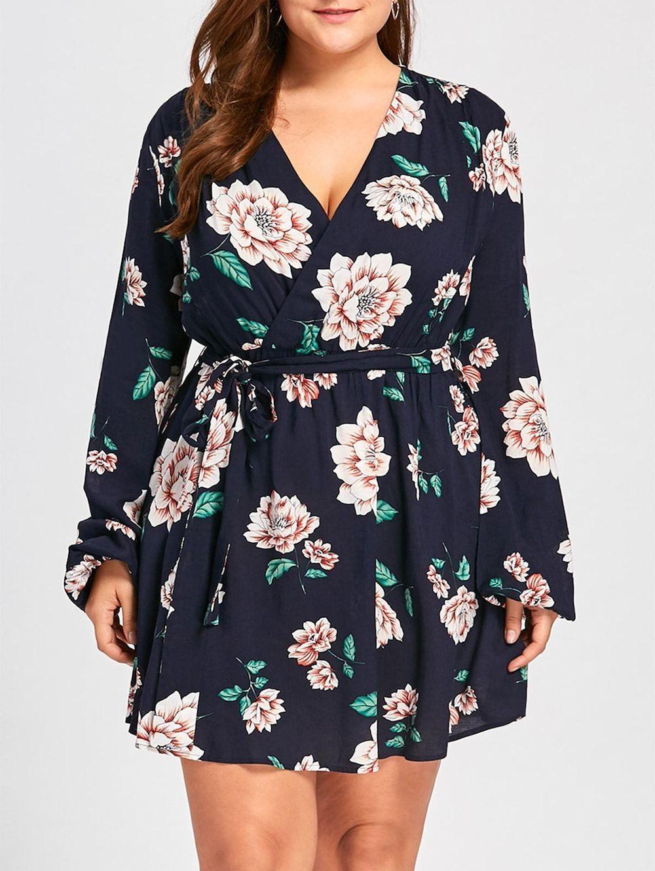 Plus Size Long Sleeve Floral Surplice Dress