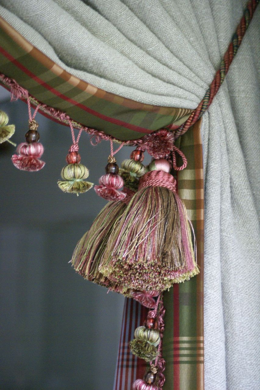 Belgian linen curtains with silk tartan trim