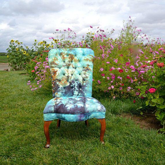 Best Aqua Blue Autumnal Orange Tufted Accent Chair Eco Hand 400 x 300