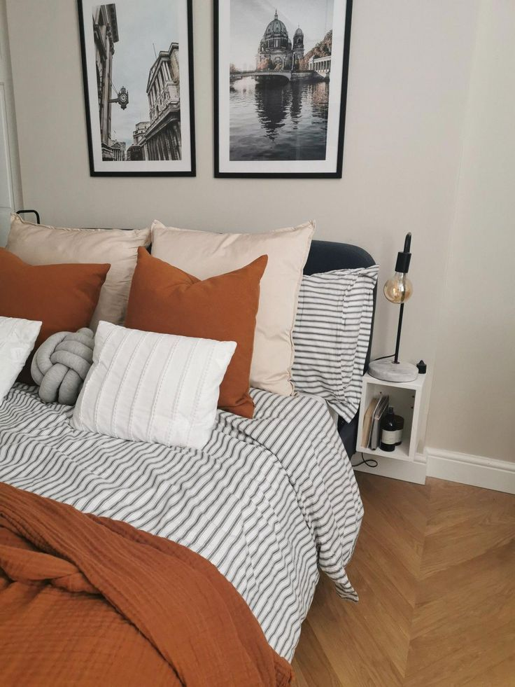 Photo of Home Interior Salas striped bedding, rust cushions, h&m home cushions, knot cushion, parquet flooring #apartmentbedroom