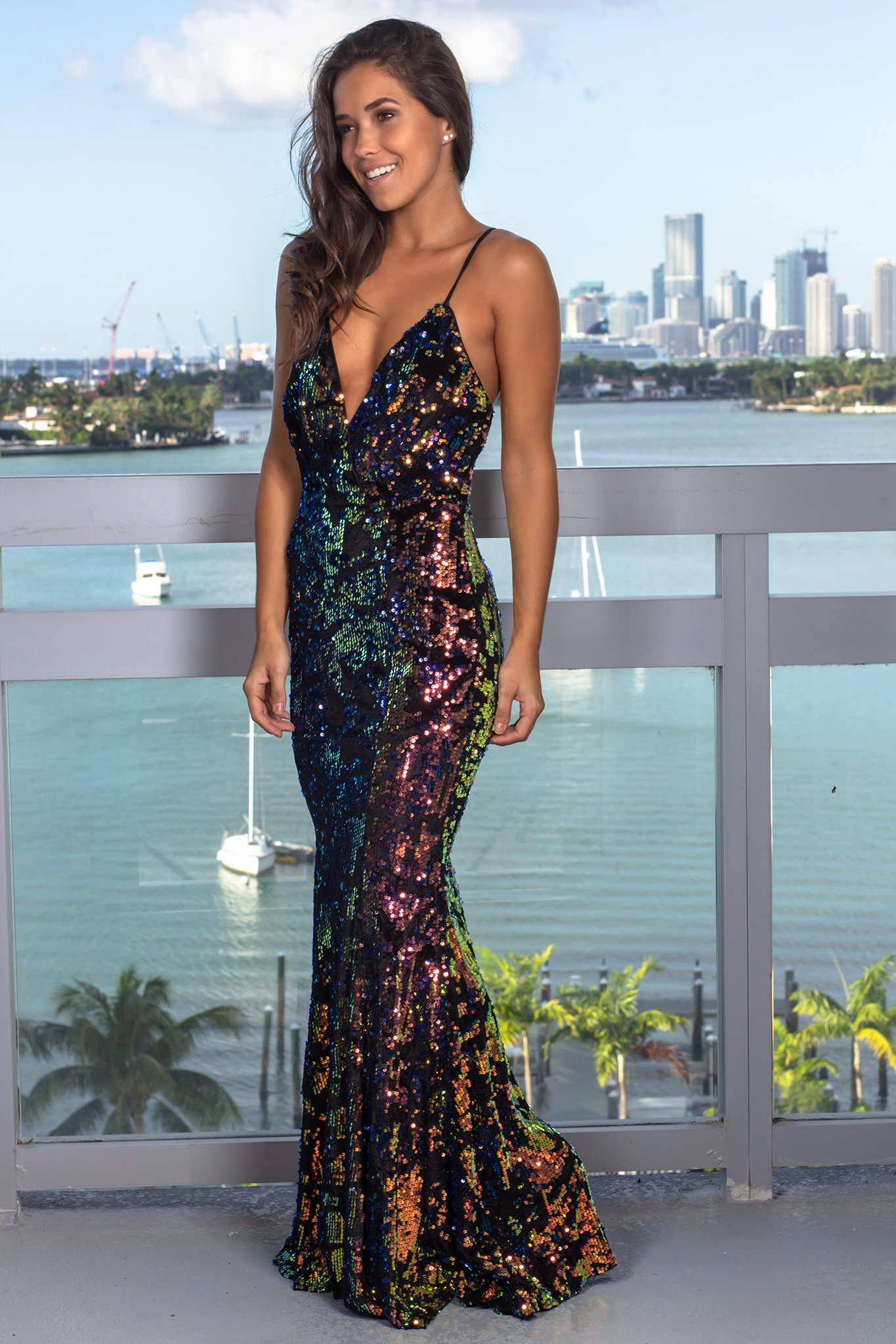 4100be3f5aa Multi Colored Sequin Maxi Dress in 2019