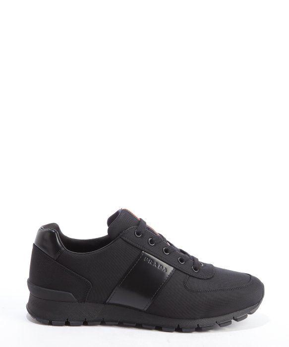 Prada Black Leather & Canvas Sneakers Bakv2dYoN