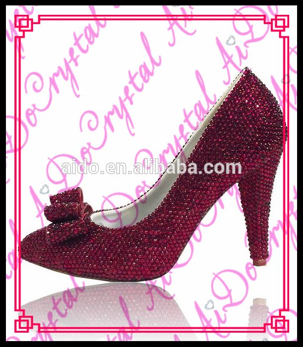 Aidocrystal 2016 wholesale latest red crystal pointed toe sexy woman high heel shoe for ladies