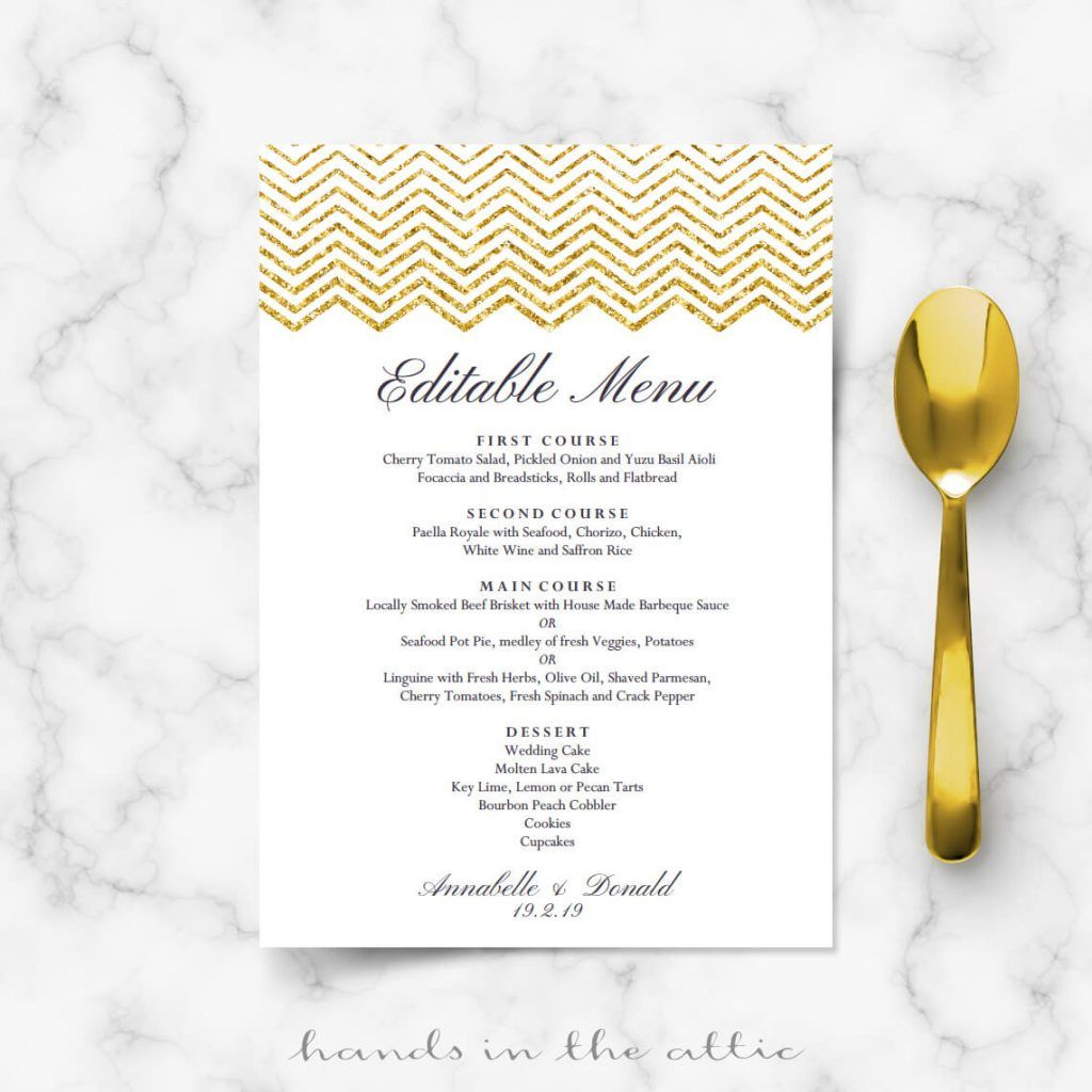 Gold Chevron Menu Template  Wedding Menu Cards    Menu