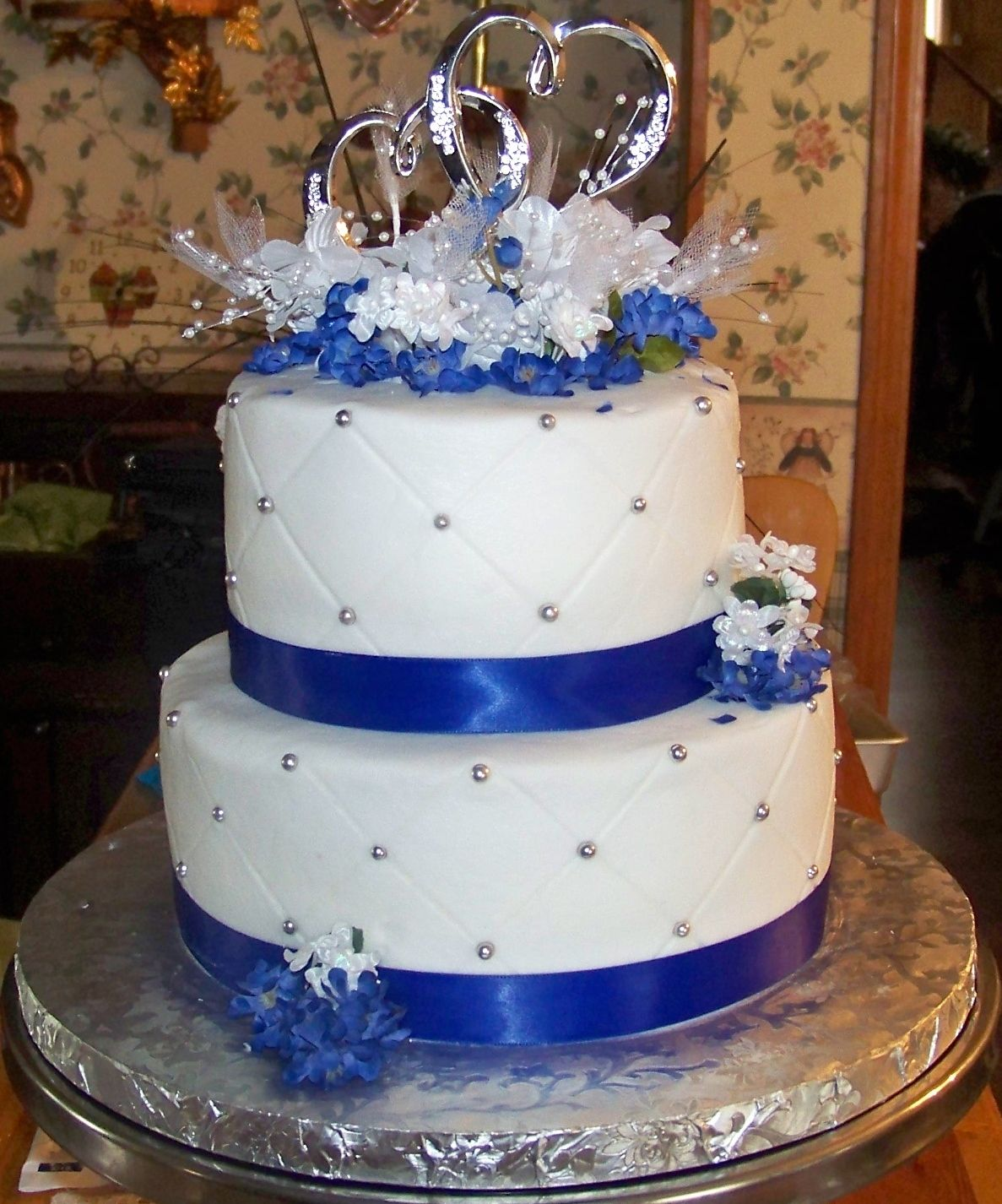 Wedding Cake Ideas Royal Blue: 40th. Anniversary Cake Done In Royal Blue., There Wedding