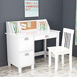 Amazon Com Kidkraft Kids Study Desk With Chair White Toys Games Kids Study Desk White Study Desk Childrens Desk