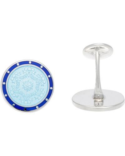 Barneys New York Mens Silver & Enamel Cufflinks nyrRcBxH