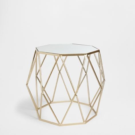 Golden Octagonal Table Occasional Furniture Decor And Pillows