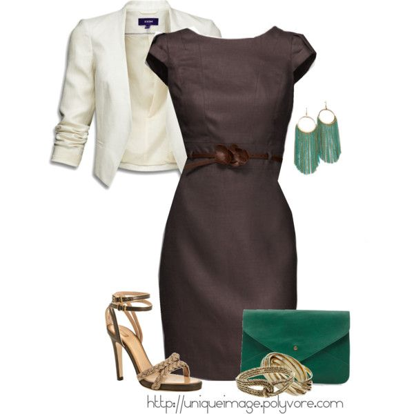 """Brown Belted Dress"" by uniqueimage on Polyvore"