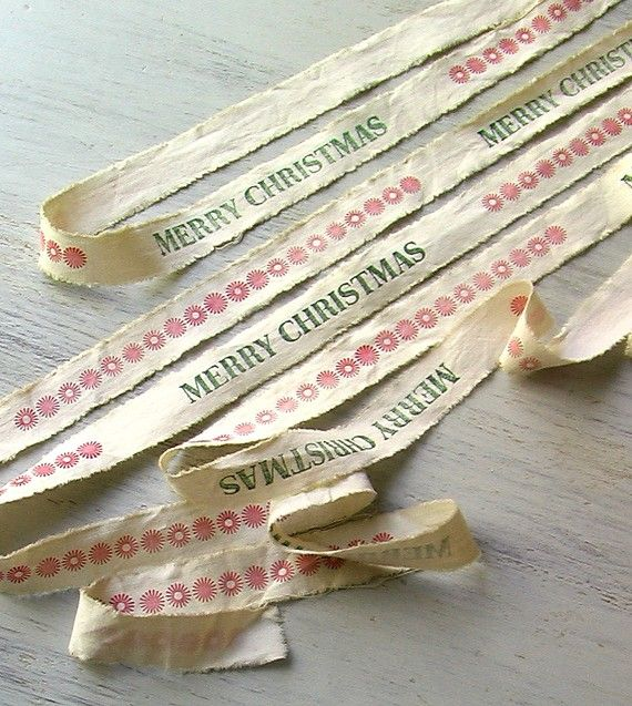 Cotton Christmas Ribbon  Merry Christmas by GrandAndTaylor on Etsy