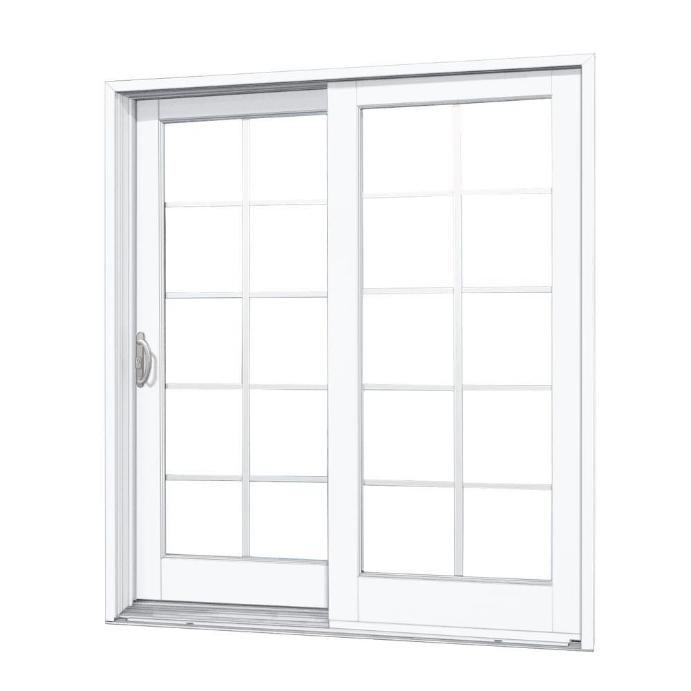 Mp Doors 72 In X 80 In Woodgrain Interior And Smooth White Exterior Left Hand Composite Sliding Patio Door With 10 Lite Gbg G6068l3n2w2 The Home Depot Patio Doors Sliding Doors Exterior Sliding