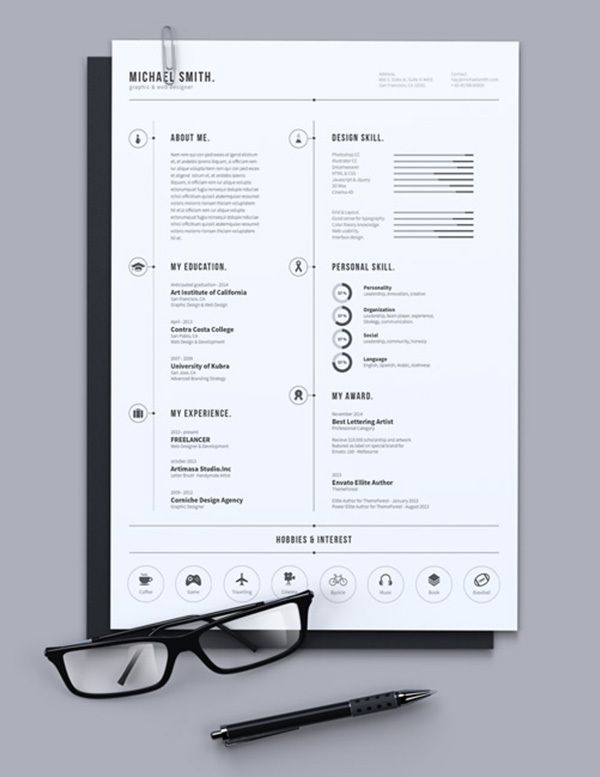 great simple resume design by luthfi  via behance  for