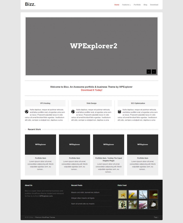 Bizz Free Minimal Business & Portfolio WordPress Theme Bizz is a ...