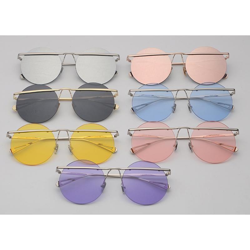 debdef9c718 Peekaboo oversized round sunglasses men vintage clear blue pink yellow punk  rimless sun glasses female male