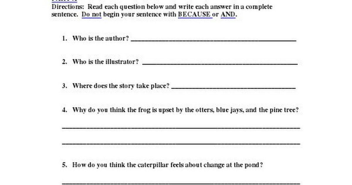Froggyfable Compquestions Pdf Complete Sentence 2nd Grade Reading Reading Comprehension Fables worksheet 2nd grade
