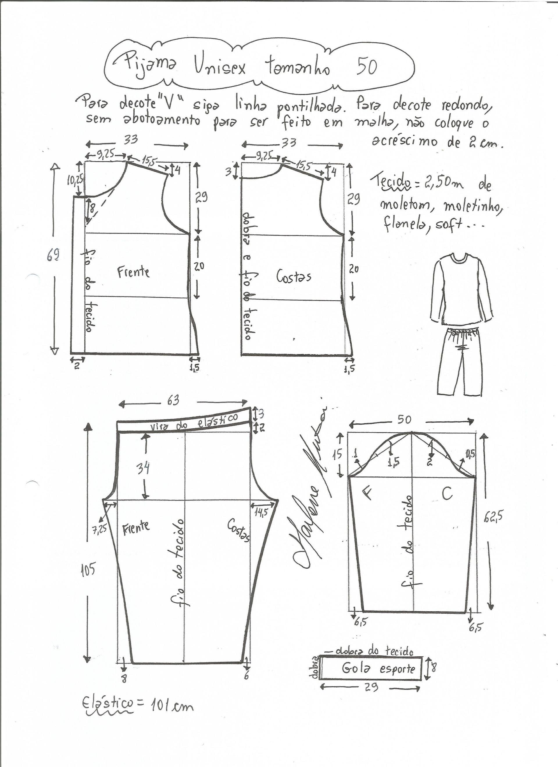 Patrón para hacer un pijama unisex, osea que sirve tanto para hombre ...