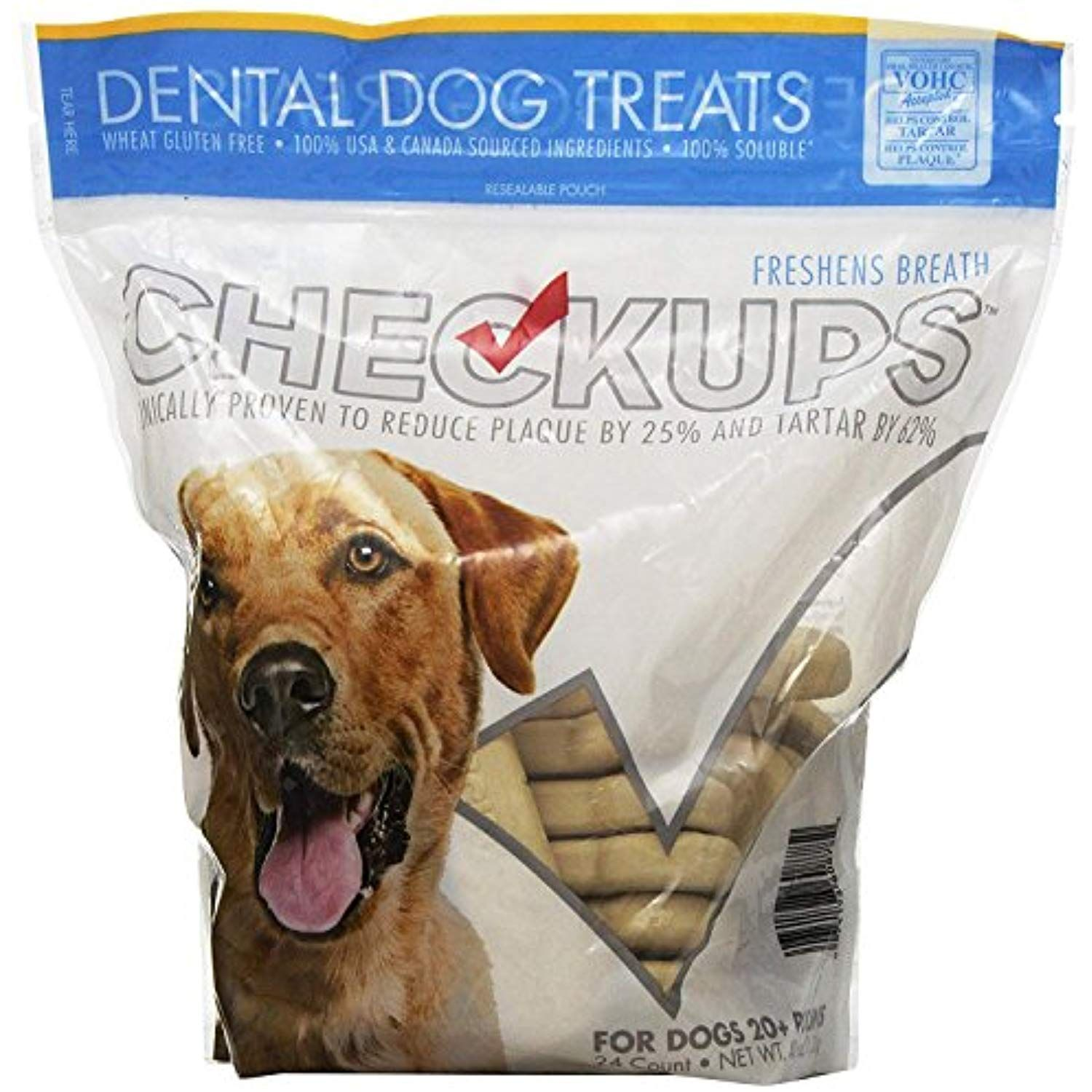 Checkups Dental Dog Treats 24ct 48 Oz For Dogs 20 Pounds Bulk