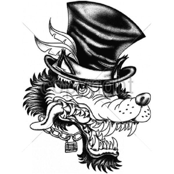 Big Bad Wolf Smile Tophat Heat Press Transfer For T Shirt Sweatshirt Fabric 059c Ab Bad Wolf Tattoo Sketch Tattoo Design Neck Tattoo