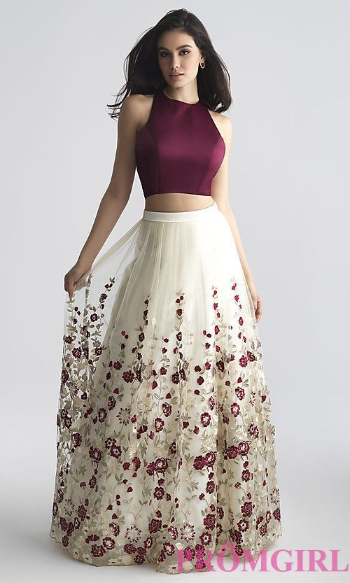 Two-Piece A-Line Prom Dress with Embroidery #longpromdresses | Stich ...