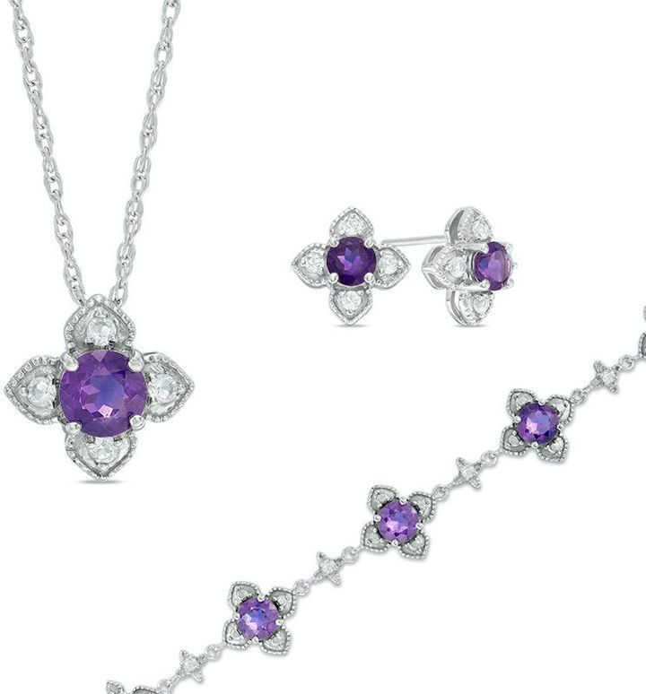 Zales Amethyst Solitaire Necklace and Stud Earrings Set in Sterling Silver