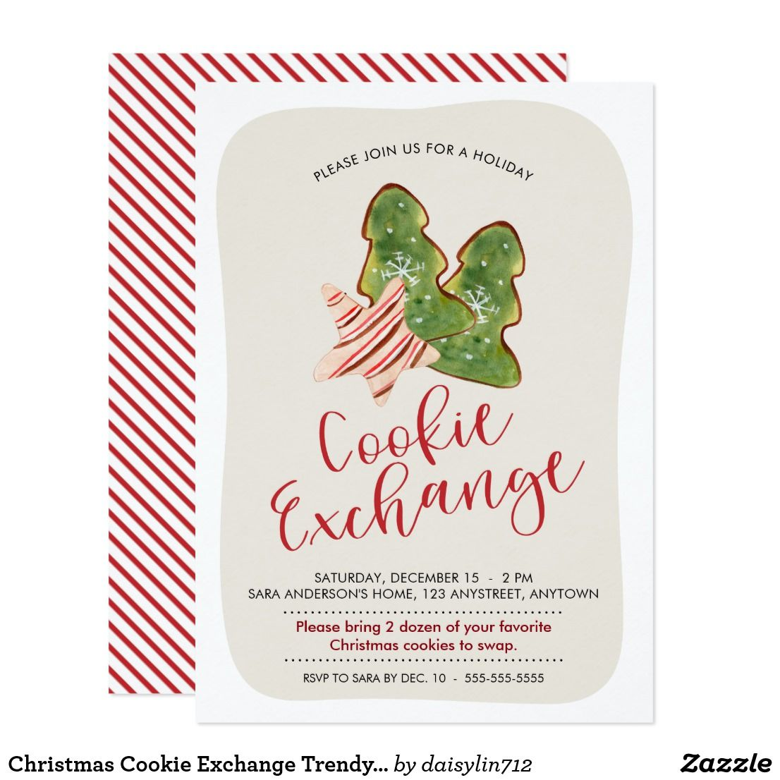 Christmas Cookie Exchange Trendy Watercolor Cookie Card ...