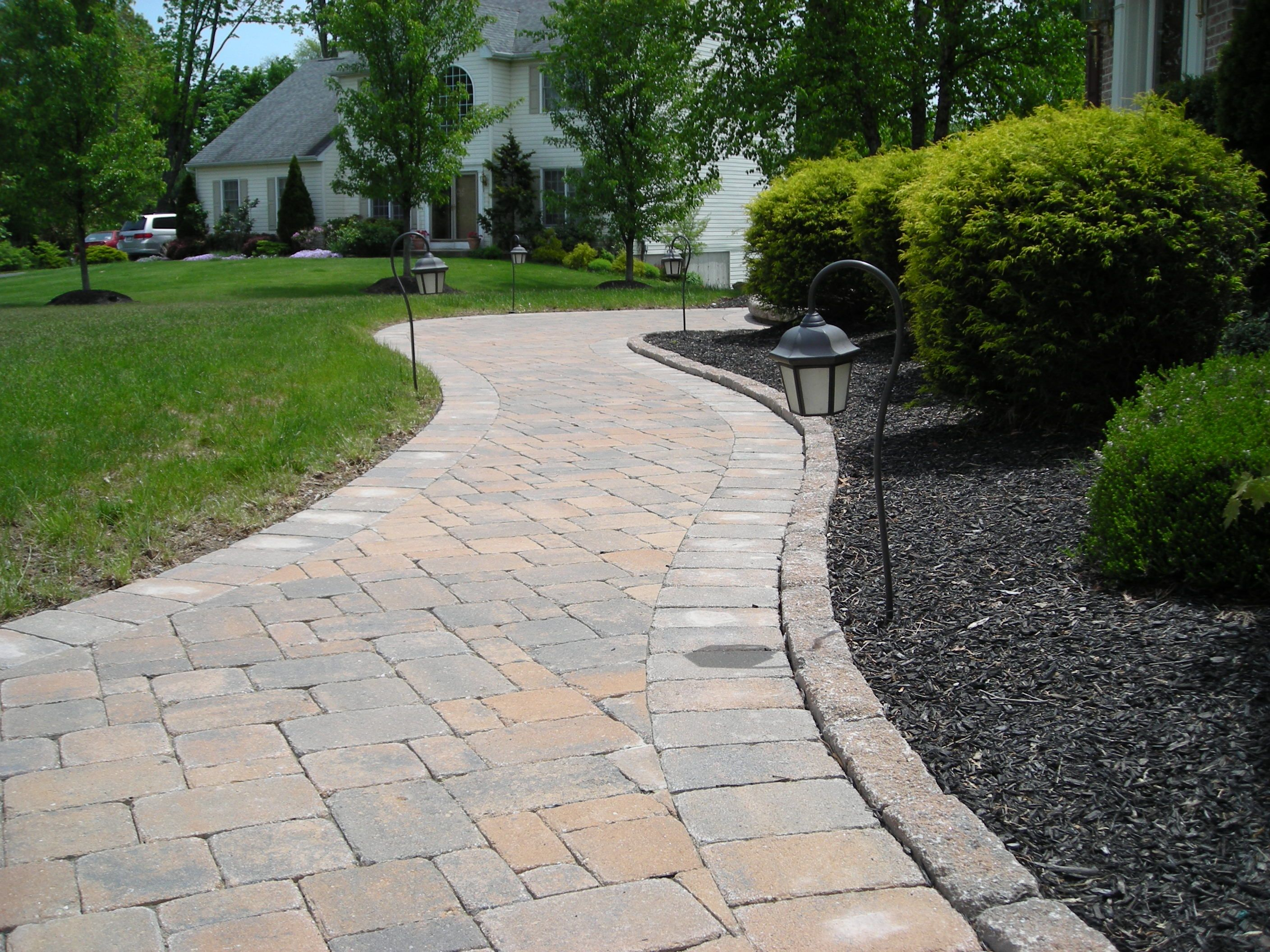 front walkway ideas thermal bluestone pavers front walkway with landscaping and lighting - Paver Walkway Design Ideas