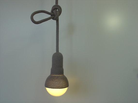 Lampe hanglamp met 1 meter snoer gehaakt in grijs door etaussi, €89.90