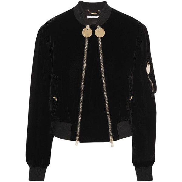 1b8985e32d46 Givenchy Velvet bomber jacket ($2,325) found on Polyvore featuring women's  fashion, outerwear, jackets, black, bomber jackets, bomber style jacket, ...