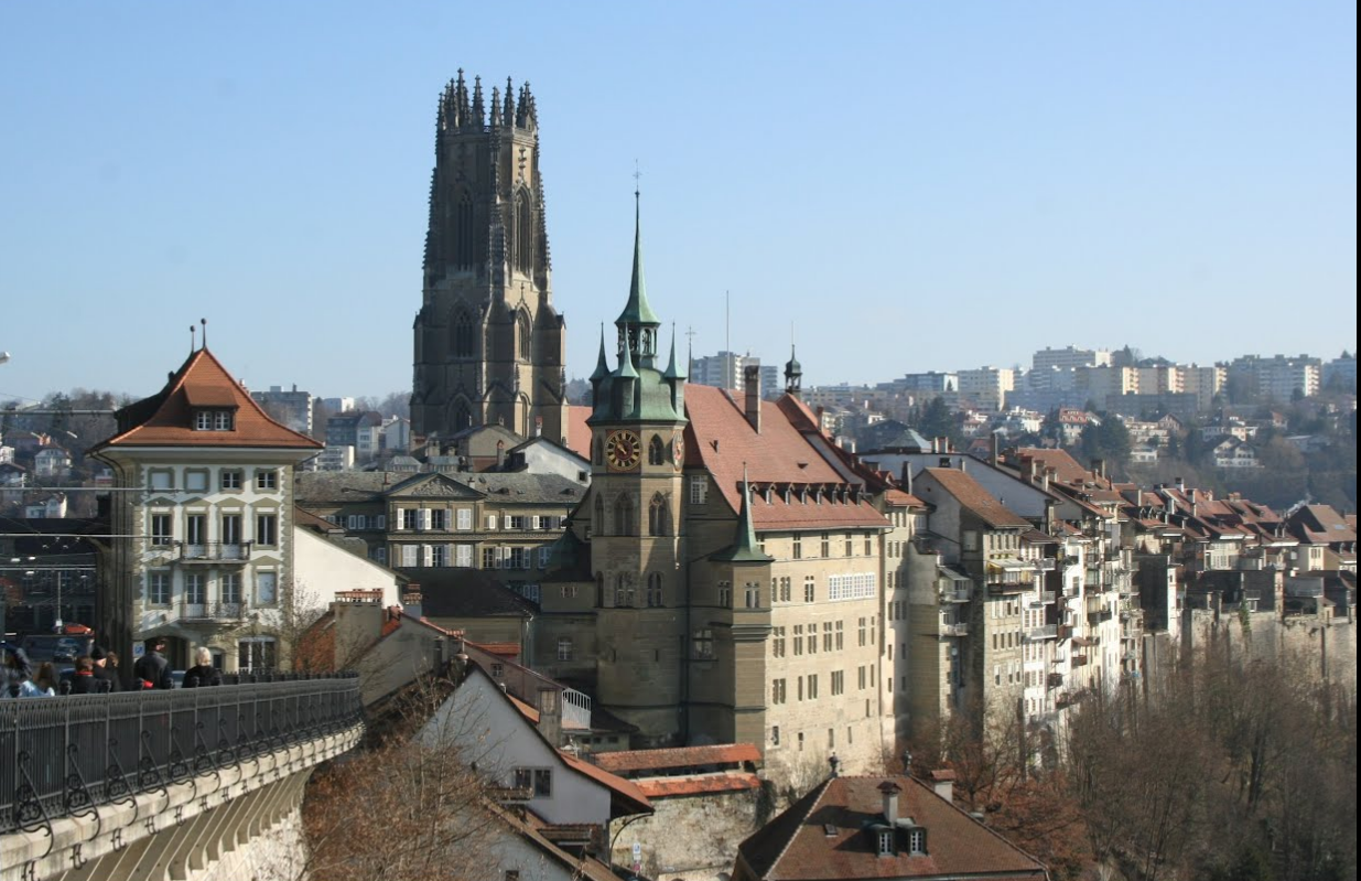 Roland Wirz - Fribourg (CH), View of the Cathedral of St. Nicholas and City Hall