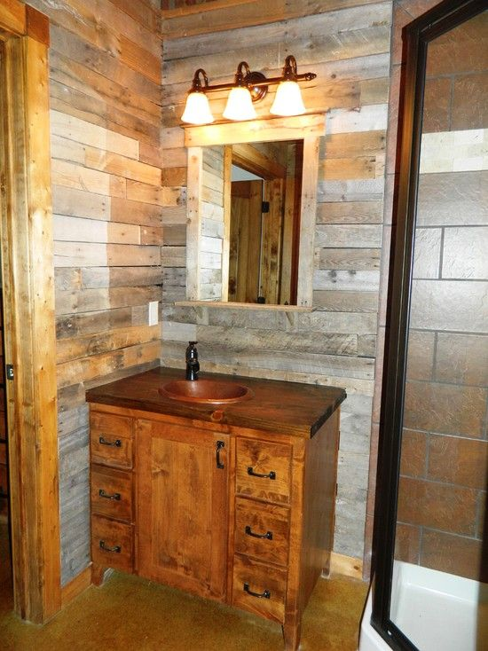 Wood Pallet Design Ideas Pictures Remodel And Decor Pallet Bathroom Pallet Wall Bathroom Traditional Bathroom