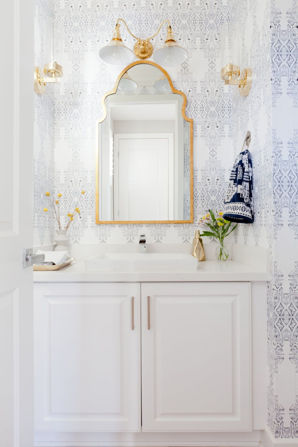 White Bathroom with White & Blue Wallpaper + Gold Accents - Veneer ...